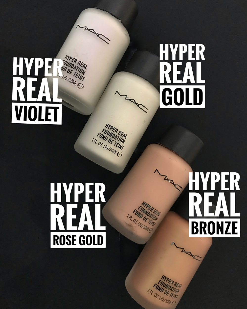 MAC Hyper Real Foundation different colours